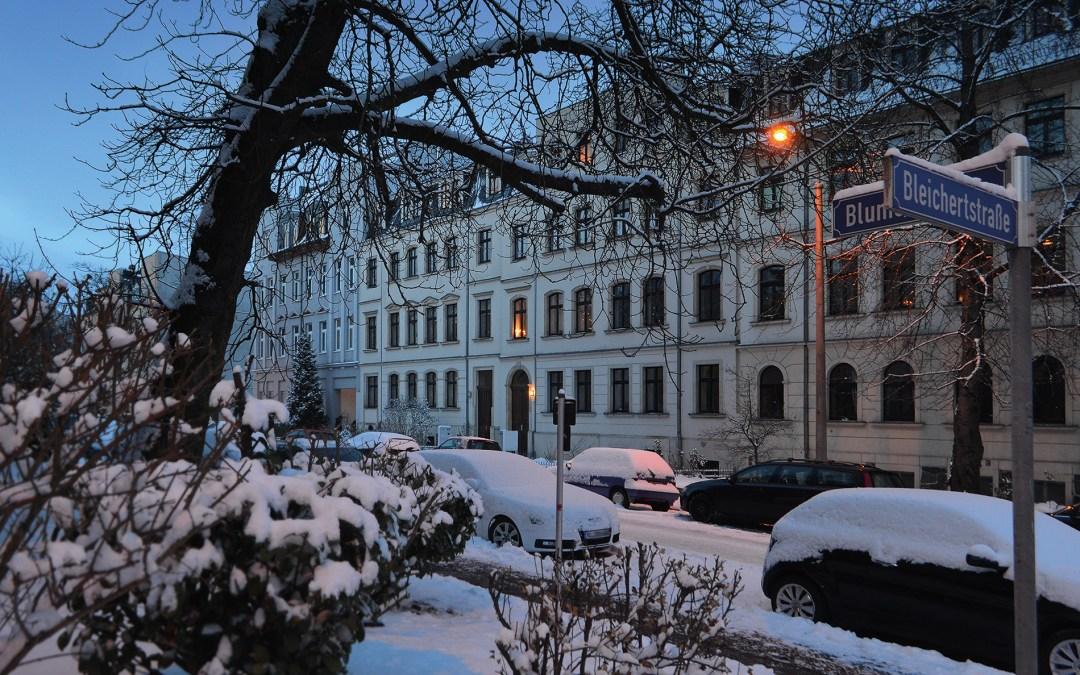 Blumenstraße Leipzig Gohlis Winter; Foto: Andreas Reichelt