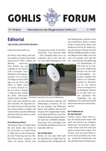 Titel Gohlis Forum 4/2020 Reichelt Kommunikationsberatung