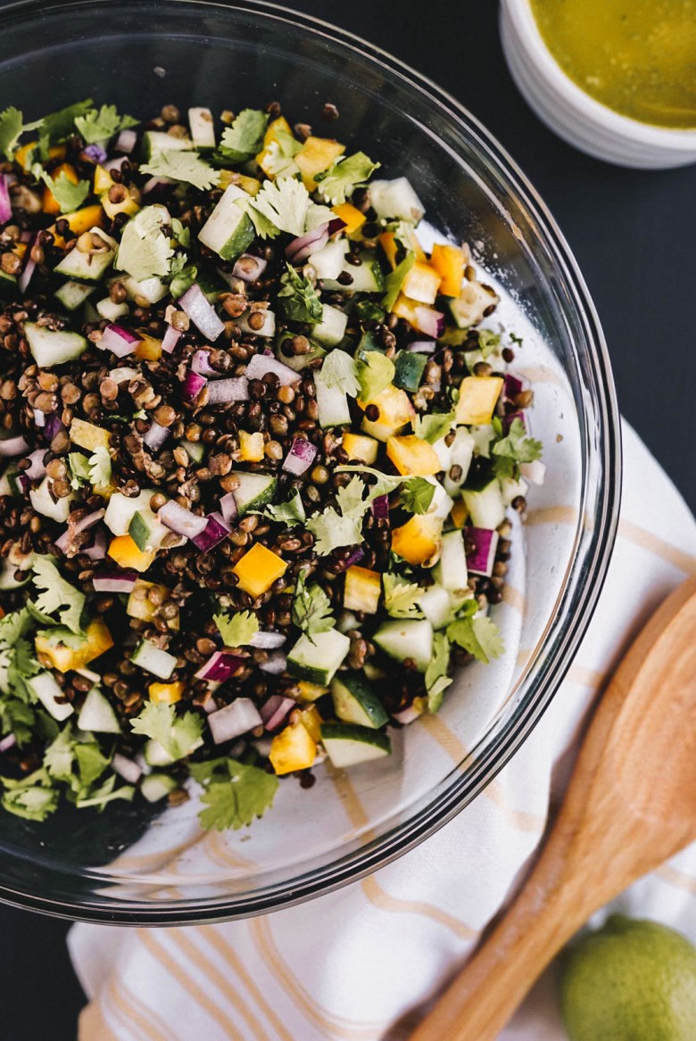 Lentil salad with cucumbers, red onion, bell pepper, and cilantro