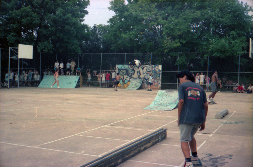 Mike Vallely doing something stupid atop the wall at the Save Lutherville contest.