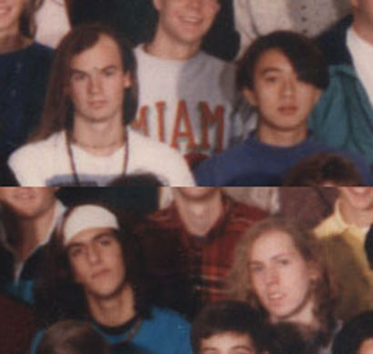 Hair farmers.  From our 1992 class photo.  Clockwise from top left.  Me, Young, Joe and Marc.