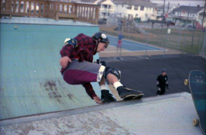 Someone I don't know with a lien to tail on the vert ramp, circa 1987.