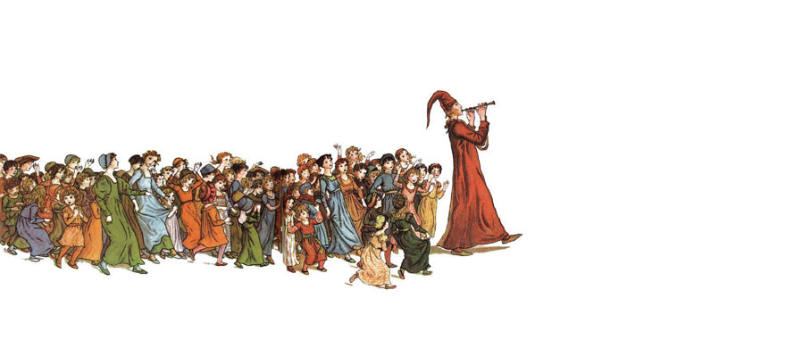 """Illustration by Kate Greenaway for Robert Browning's """"The Pied Piper of Hamelin""""."""