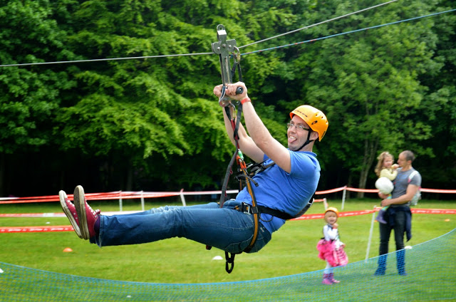 Neil on the zip wire at Geronimo Festival
