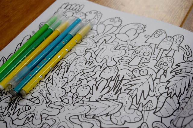 felt tip pens and colouring book