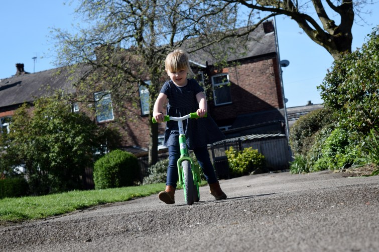 learning to ride the Y Velo Balance Bike