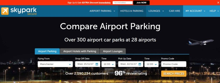 Compare airport parking through SkyParkSecure