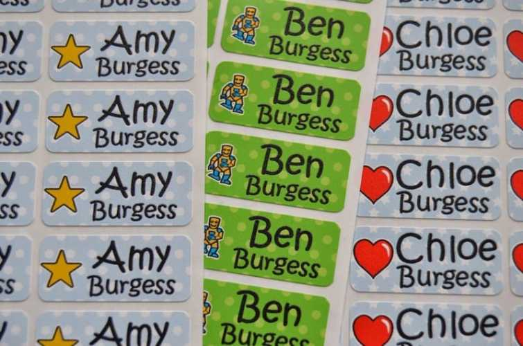 My nametags colour personalised labels