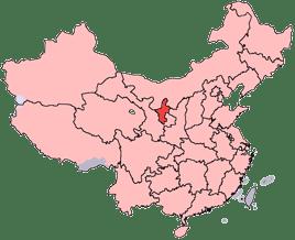Carte complète de la Chine avec en rouge vif la province du Ningxia