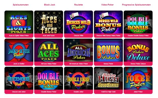 Spin Palace Online Casino Video Poker Spiele