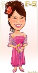 パーティードレスF-5 ピンクのパーティードレスとパープルカラーのドレスショール