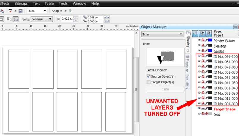 Unwanted Layers Turned Off