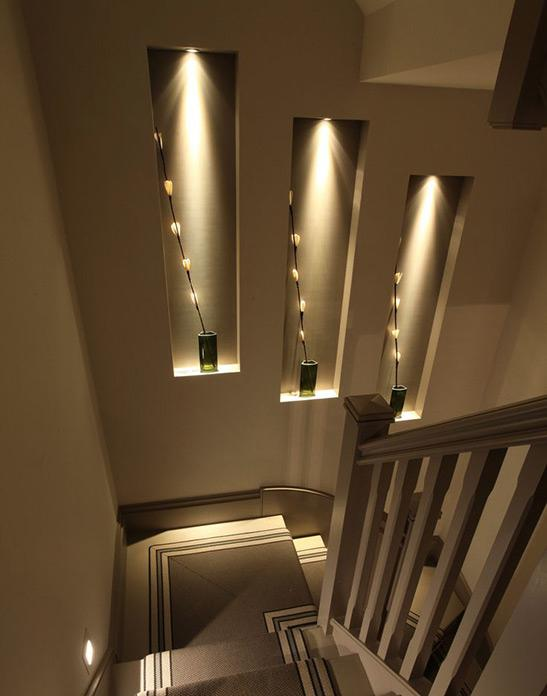 Gold & Grey UK Interior Design - Lighting Design Elegant Stairwell Lights