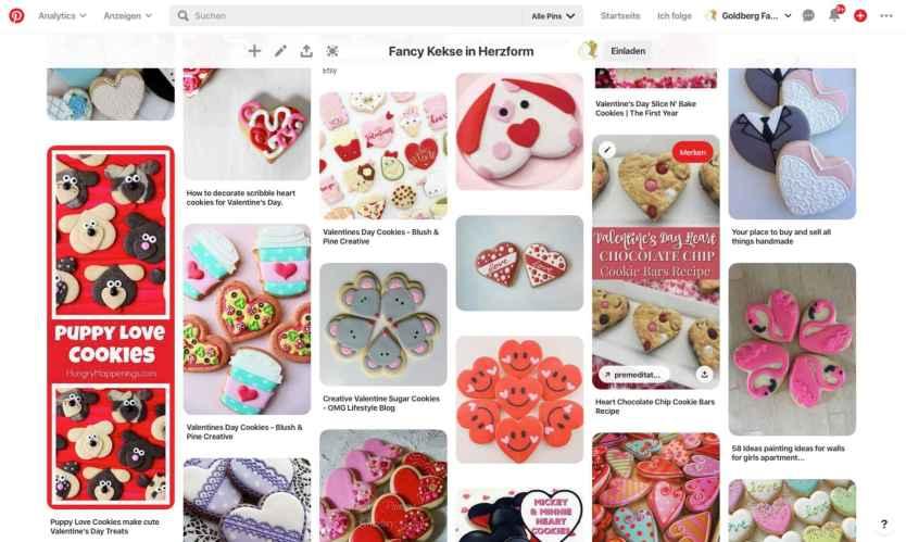 Screenshot von Pinterest zu Herzkeksen