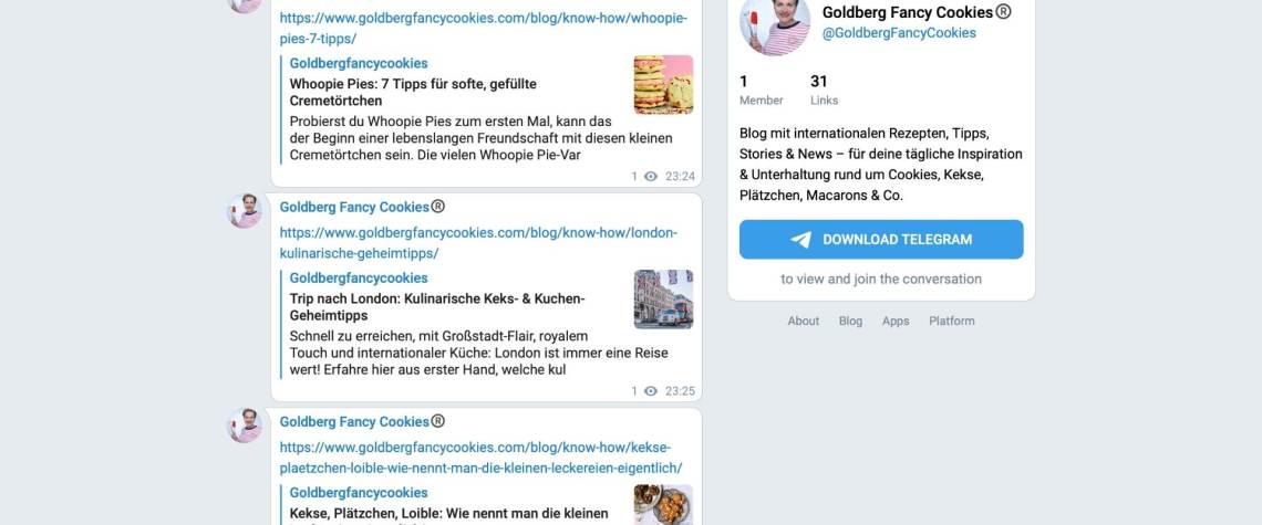 Telegram-Kanal von Goldberg Fancy Cookies