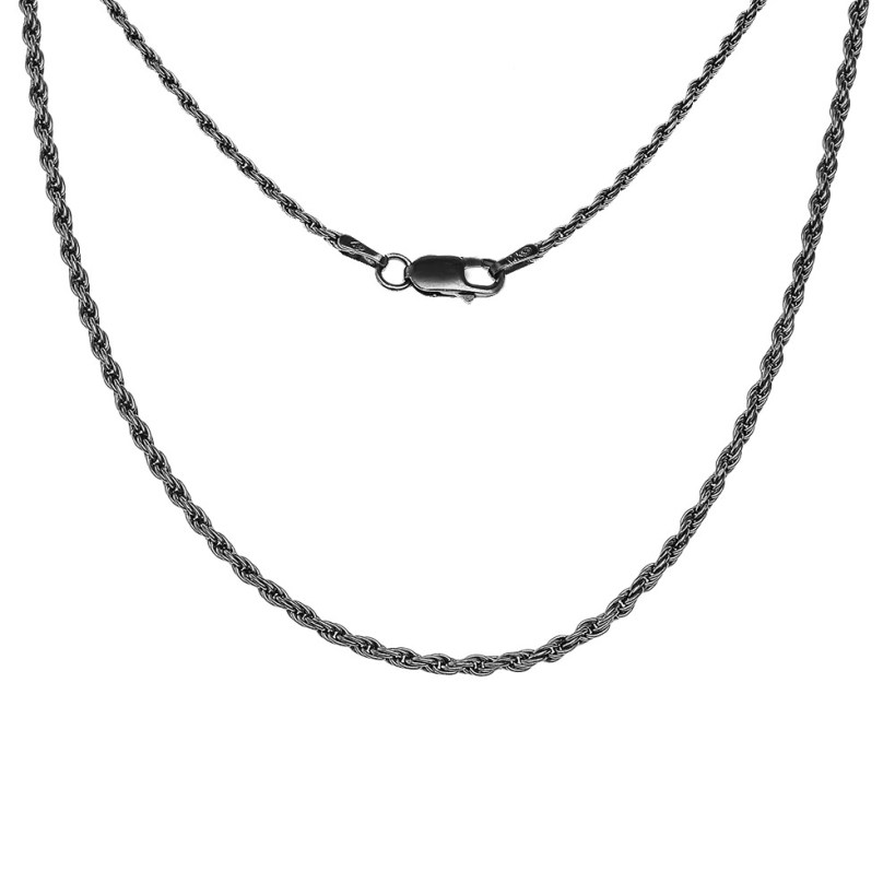 1.5mm Vintage Style Classic Black Rope Chain in Sterling Silver