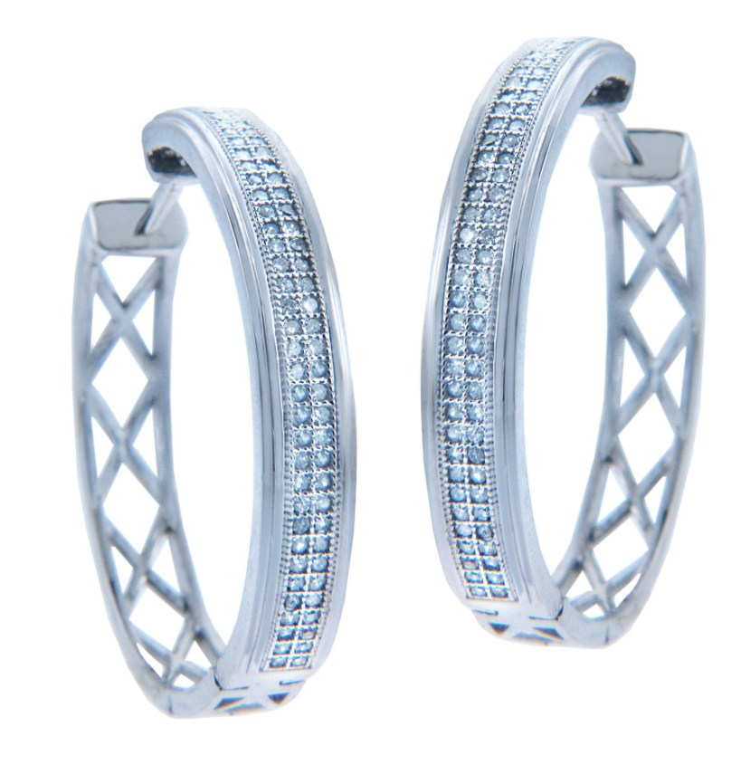 Diamond Weave Hoop Earrings in 9ct White Gold