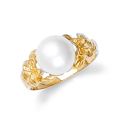 Pearl Hawaiian Plumeria Ring in 9ct Gold
