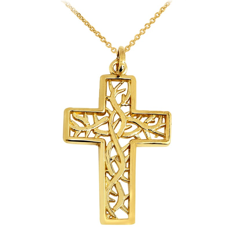 Trinity Cross Pendant Necklace in 9ct Gold