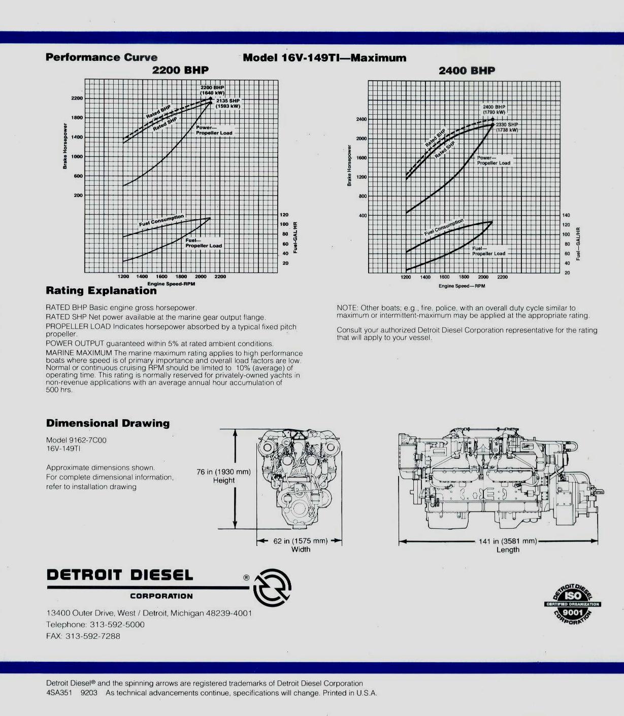 Detroitsel 16v 149ddec Rebuilt Marine Engines