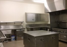 interior of commercial kitchen in love building