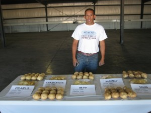 Adrian, head of QC, and a samples of our chipping potatoes