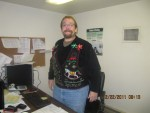 Rich Wright showing off his Christmas sweater.