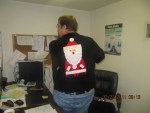 Richard Wright showing off the back of his Christmas sweater.