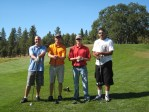 Patrick Hagan, Marc Staunton, Matthew Thompson and Sanjay Prasad golfing at the Running Y Ranch.