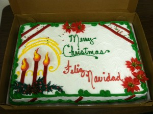 The Christmas cake served at the Gold Dust Holiday party in Malin, Oregon.