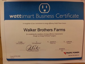 "Photograph of a certificate Pacific Power gave to Walker Bros. farm for being a ""wattsmart"" company."