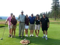Ron Marshall, Marshall Staunton, Steve Parkinson, Lucie Grant and Danny Lopez pose with Gold Dust employees Sarah Mendez and Trish Briones at the 2013 Open House Field Day golf scramble.
