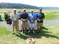 Vern Frederickson, Joe Dahlen, Dave Reece and Sid Staunton pose for a team photo at Gold Dust's 2013 Open House Field Day golf scramble at the Running Y Ranch.
