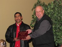Felimon Zendejas Acosta received special recognition from Bill Walker for his ability to keep Gold Dust's Malin packing shed up and running at the 2013 Leadership Dinner