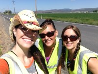 Lexi Crawford, Trish Briones and Sarah Mendez take a minute to pose for a selfie near Gold Dust's headquarters outside of Malin, Oregon..