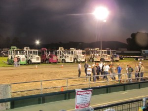 Hay squeezes from Klamath Basin farms are lined up for the hay squeeze competition for the 2014 Tulelake-Butte Valley Fair.