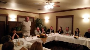 Bill Walker, partner and CEO of Gold Dust Potato Processors and Walker Brothers farm, talking to guests at the 2014 Leadership Dinner.