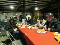 Matt Thompson, Salvador Vera, Adrian Mendez and other members of the shed crew having lunch at the Gold Dust Christmas luncheon.