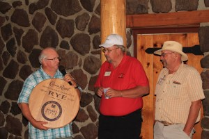 """Duane """"Sarge"""" Preston thanking Bill Walker and John Walker for the memories at the 2016 Open House Field Day dinner."""