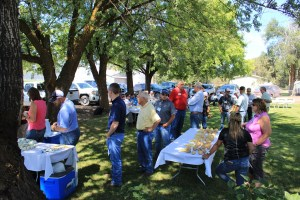 Gold Dust Potatoes' guests line up for lunch during the Open House Field Day at Gold Dust's Running Y Ranch headquarters near Klamath Falls, Oregon.