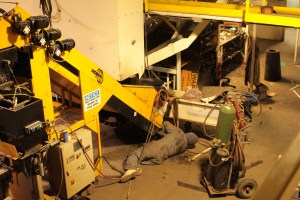 A Gold Dust employee performing maintenance on equipment at their Malin, Oregon potato packing shed.