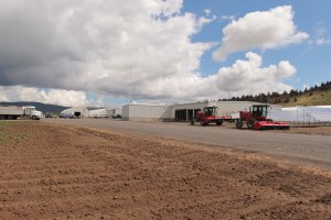 A photo of the driveway at Gold Dust Potato Processors' potato processing plant after shipping season.