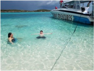 Krue Johnston and his mother, Tracy, swimming in the waters in the Bahamas.