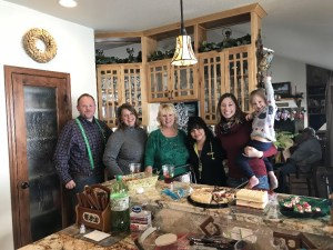 Weston Walker, Tricia (Walker) Hill, Jan Walker, Nayeli Pena, Katie Walker and daughter Madison at Gold Dust Potato Processors' 2017 Christmas Party at Jan's house outside of Malin, Oregon.