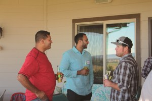Sanjay Prasad and Gurvinder Johal from Frito Lay visiting with Matt Thompson at Bill and Jan Walker's Malin, Oregon house.