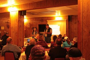 Bill Walker and Lexi Crawford welcoming Gold Dust & Walker Farms' guests at Mike and Wanda's Restaurant in Tulelake, CA.
