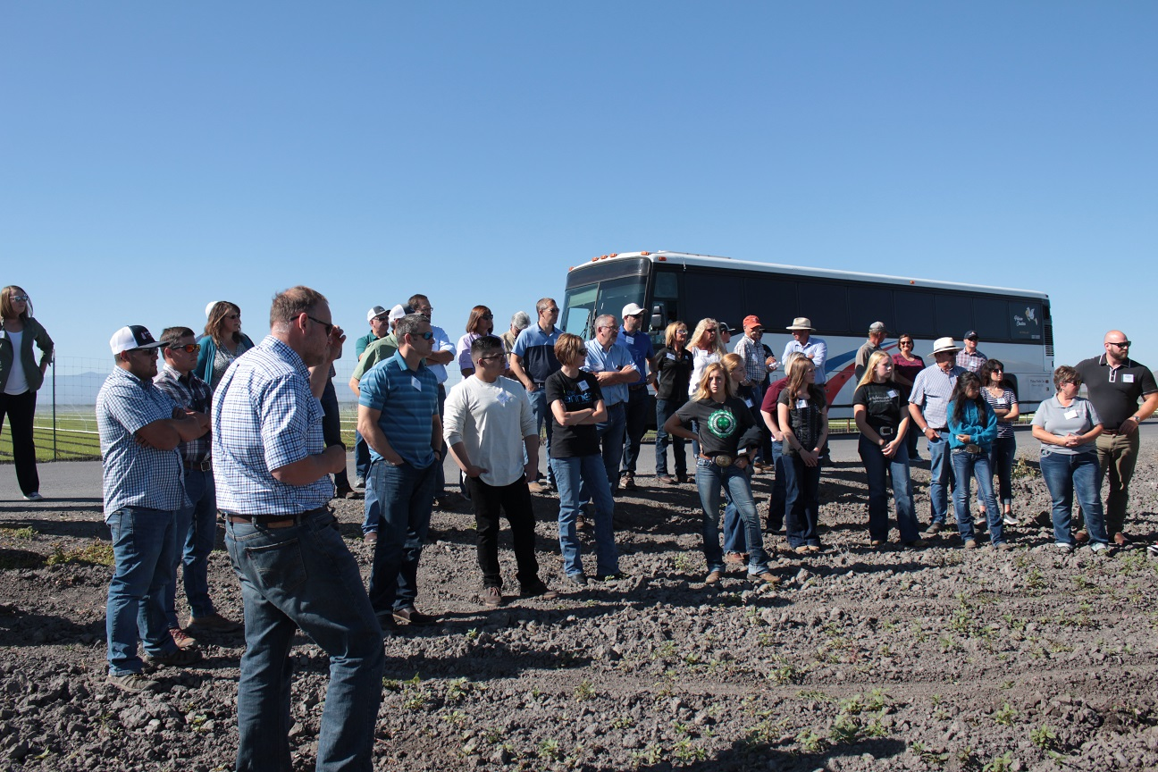 Gold Dust & Walker Farms' guests near a potato field outside of Tulelake, California.