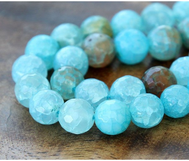 Fire Crackle Agate Beads Teal Blue 10mm Faceted Round