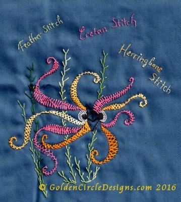 Basic Embroidery Stitches - Herringbone Stitch - Golden Circle Designs