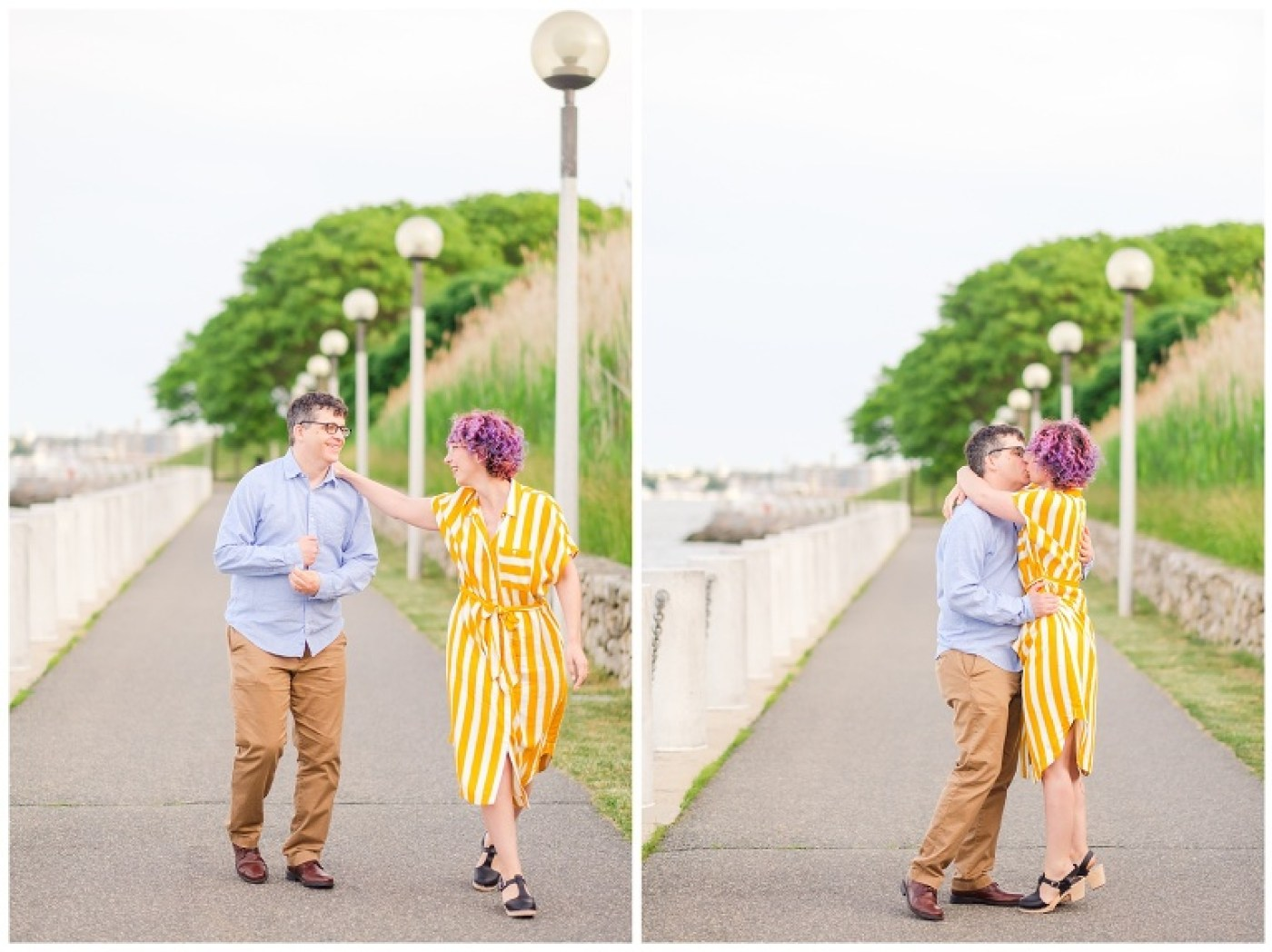 Engaged couple in bright colors walks down a lamp-lined path at the JFK Library in Boston